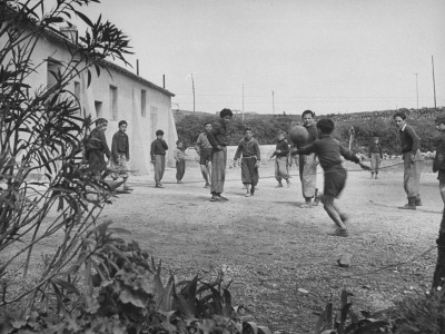 Residents of Italian Boystown Playing Soccer Photographic Print