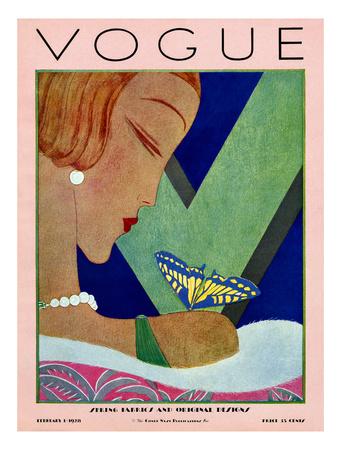 Vogue Cover - February 1928 Giclee Print by Eduardo Garcia Benito