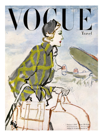 "Vogue Cover - January 1947 - Travel Fashion Giclee Print by Carl ""Eric"" Erickson"
