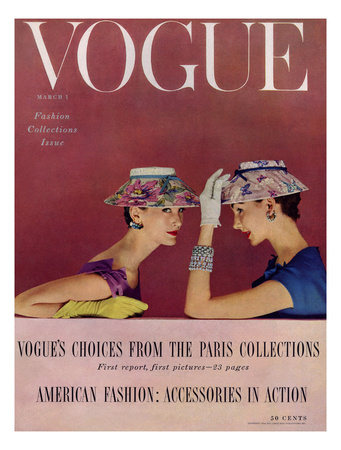 Vogue Cover - March 1954 - Floral Hats Giclee Print by Richard Rutledge