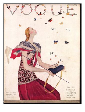 Vogue Cover - February 1924 Giclee Print by Eduardo Garcia Benito