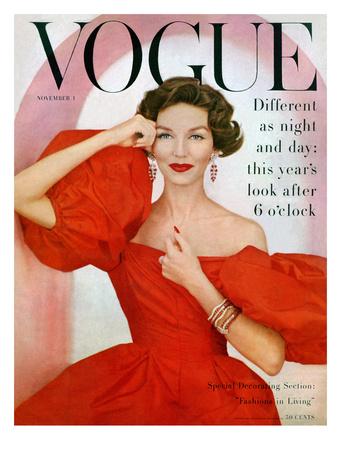 Vogue Cover - November 1956 Giclee Print by Richard Rutledge