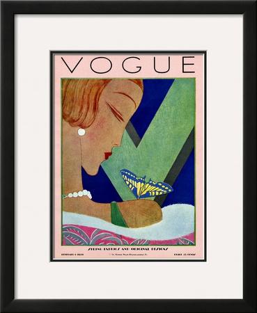 Vogue Cover - February 1928 Framed Giclee Print by Eduardo Garcia Benito