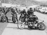 Hell's Angels Motorcycle Gang Members Preparing to Ride to Bakersfield Photographic Print by Bill Ray