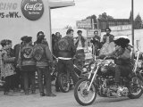 Hell's Angels Motorcycle Gang Members Hanging Out in a Parking Lot Photographic Print by Bill Ray