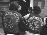 Close Up of Two Hell's Angels Berdoo Jackets on the Backs of Two Riders Photographie par Bill Ray