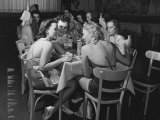 Fashion Models Taking Their Lunch Break at the Racquet Club Cafe Photographic Print by Peter Stackpole