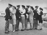 Women Pinning Wings Onto Four Air Force Cadets at Foster Field Photographic Print by Dmitri Kessel