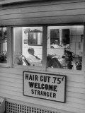 Man Waiting in a Barber Shop For a Haircut Photographic Print by Francis Miller