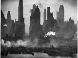 New York Harbor with Its Majestic Silhouette of Skyscrapers Looking Straight Down Bustling 42nd St. Photographie par Andreas Feininger