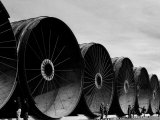 Gigantic Pipe Segments Used for Diverting the Missouri River During Construction of Fort Peck Dam Premium Photographic Print by Margaret Bourke-White