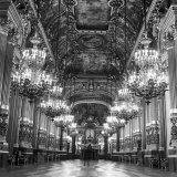 Rows of Chandeliers Hanging in the Grand Lobby of the Paris Opera House Photographic Print