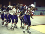 "Actress Raquel Welch in Roller Skating Derby, Filming of Motion Picture ""The Kansas City Bomber"" Premium Photographic Print by Bill Eppridge"