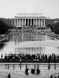 Crowd of People Attending a Civil Rights Rally at the Lincoln Memorial Premium Photographic Print by John Dominis