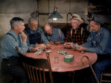 Old Gold Miners Play a Game of Poker at Twilight, Volcano Grocery Store, Volcano, California, 1948 Premium Photographic Print by Herbert Gehr