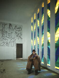 Portrait of Artist Henri Matisse in Chapel He Created, Tiles on Wall Depict Stations of the Cross Premium Photographic Print by Dmitri Kessel