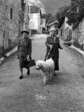 "Alice B. Toklas and Author Gertrude Stein, Walking Poodle ""Basket"" During Liberation from Germans Premium Photographic Print by Carl Mydans"