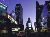 View Showing Buildings and Electric Signs in Times Square Seen from Duffy Square Premium Photographic Print by Ted Thai