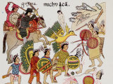 Native Drawing of Spaniards under Hernando Cortes Fighting Against the Aztecs Premium Photographic Print