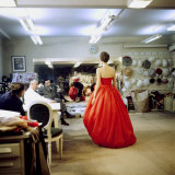 Fashion Designer Christian Dior Commenting on Red Gown for His New Collection Prior to Showing Premium Photographic Print by Loomis Dean