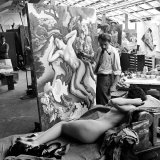 "Artist Thomas Hart Benton Working on Painting ""Rape of Persephone"" in Studio Using Live Nude Model Premium Photographic Print by Alfred Eisenstaedt"
