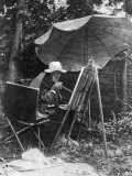 Artist Pierre Auguste Renoir Painting with Brush Tied to His Arthritic Hand, Last Days of His Life Premium Photographic Print