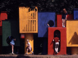 Children at Play in New York City Playgrounds Premium Photographic Print by John Zimmerman