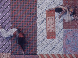 2 Javanese Women Checking Final Finish on Multi-Colored and Patterned Batik Dyed Fabric Premium Photographic Print by Co Rentmeester