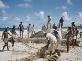 Bahia Fisherman on Beach with their Nets Premium Photographic Print by Dmitri Kessel
