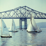 Sailboats in Front of the Central Part of the Tappan Zee Bridge over the Hudson River Photographic Print by Andreas Feininger