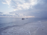 Haitian Beach Scene with Some Distant Fishermen Premium Photographic Print by Lynn Pelham
