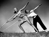 Gym Teachers Throwing Javelins at Hiddensee Premium Photographic Print by Alfred Eisenstaedt