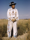 Shoshone Indian Modeling White Leather Beadworked Costume, Fort Hall Indian Reservation, Idaho Premium Photographic Print by Eliot Elisofon