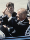 Pres. Kennedy Riding with Astronaut John Glenn after He Became First American to Orbit Earth Premium Photographic Print by Michael Rougier