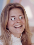 Actress Candice Bergen Spoofing Her Own Beauty, Trying on the False-Eye Look Premium Photographic Print by Michael Mauney