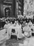 Pope John XXIII, with Bishops Kneeling in Prayer, St. Peter's Basilica, Opening of Vatican II Premium Photographic Print by Hank Walker