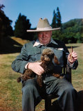 Sir Winston Churchill Wearing Straw Hat while Holding Pet Poodle at Chartwell Manor Premium Photographic Print by Hans Wild