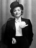 Actress Marlene Dietrich Wearing Tuxedo, Top Hat, and Holding Cigarette at Ball for Foreign Press Premium Photographic Print by Alfred Eisenstaedt