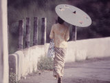 Indonesian Woman with a Parasol Photographic Print by Co Rentmeester