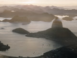 Aerial at Dusk of Sugar Loaf Mountain and Rio de Janeiro Premium Photographic Print by Dmitri Kessel