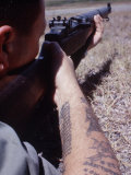 Close-Up of Member of Navy Emergency Ground Defense Force with M-1 Rifle in Guantanamo Naval Base Premium Photographic Print by Robert W. Kelley