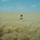 Harvest Story: Farmer Stands Chest Deep in Wheat, Texas Photographic Print by Ralph Crane