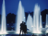 The Parisians: Jardins du Trocadero Fountains at Night Premium Photographic Print by Alfred Eisenstaedt
