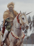 Ethiopian Horseman During British Queen Elizabeth II's Visit Premium Photographic Print by John Loengard