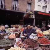 Fruits, Vegetables, Meat, Polutry, and Flowers Sold in Rue Mouffetard Market, Quartier Latin Photographic Print by Alfred Eisenstaedt