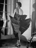 """Model Wearing Taffeta Gown Called """"After Theatre"""" Featuring Batwings, Each 22 Inches from the Spine Premium Photographic Print by Nina Leen"""