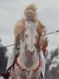 Ethiopian Horseman During British Queen Elizabeth II's Visit Premium Photographic Print by John Loengard