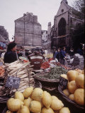 Fruits, Vegetables, Meat, Polutry, and Flowers Sold in Rue Mouffetard Market, Quartier Latin Premium Photographic Print by Alfred Eisenstaedt