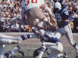 Baltimore Colts Foorball Player Lou Michaels About to Kick the Ball with His Left Foot and Score Premium Photographic Print by Art Rickerby