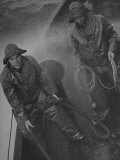 Naval Officers Working on a Ship During a Storm Premium Photographic Print by George Strock